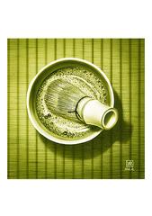 <素彩画>抹茶絵の具で描く「抹茶」  A4アートポスター