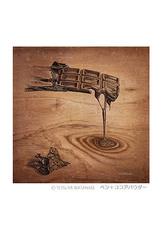<ペン+ココアパウダー>「溶けていくチョコレート」 ポストカード