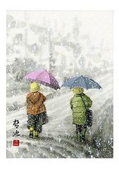 <墨彩画>「雪の朝」 A4・A3アートポスター