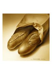 <素彩画>小麦粉焙煎絵の具で描く「フランスパン」 A4アートポスター