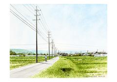 <水彩画>「田舎道」 A4アートポスター