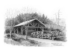 <素彩画>木炭屑で描く「炭焼き小屋」 A4アートポスター
