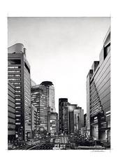 <鉛筆画>「UMEDA」 A4・A3アートポスター