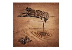 <ペン+ココアパウダー>「溶けていくチョコレート」 A4・A3アートポスター
