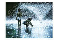 <水彩画>「水遊び」 A4アートポスター