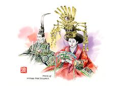 <水彩画>「雛人形」 A4アートポスター