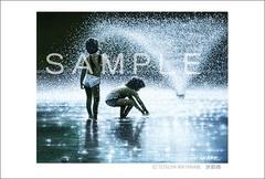 <水彩画>「水遊び」 ポストカード