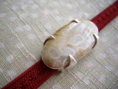 フォッシルコーラル 菱形爪の帯留