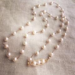 アコヤ真珠のフレンチノット ロングネックレス
