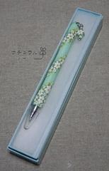 ホワイトフラワーボールペン【ミントブルー】