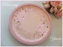 【再販】ピンクの薔薇の薄型丸盆・おぼん・トレイ(トールペイント)