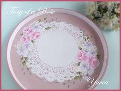 【再販2】薔薇の丸盆・トレイ(華やかタイプ) トールペイント