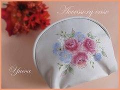 母の日♥薔薇の手描き化粧ポーチ トールペイント