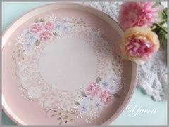母の日・ピンクの薔薇の丸盆・トレイ トールペイント