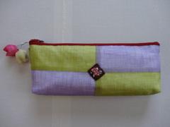 韓国伝統工芸「ポジャギと刺繍の筆入れ・藤色×黄緑色」