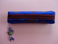 韓国伝統工芸「刺繡の筆入れ・青色」