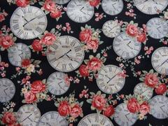 オックス生地(薔薇と時計柄)