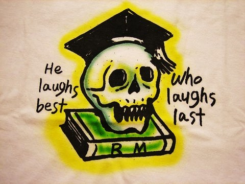 """RUSSET & MIND Skull on Book T-SHIRTS """"AIR BRUSH"""""""
