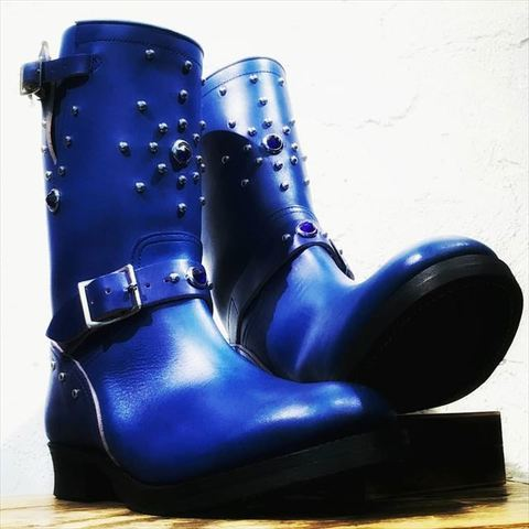 "DAPPER'S × 8UP Studs Engineer Boots Premium Horse Butt Leather ""Blue"""