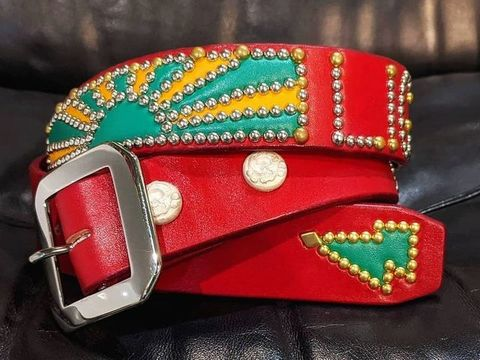 "Boots Leather ""Sunrise"" Studs Belt"
