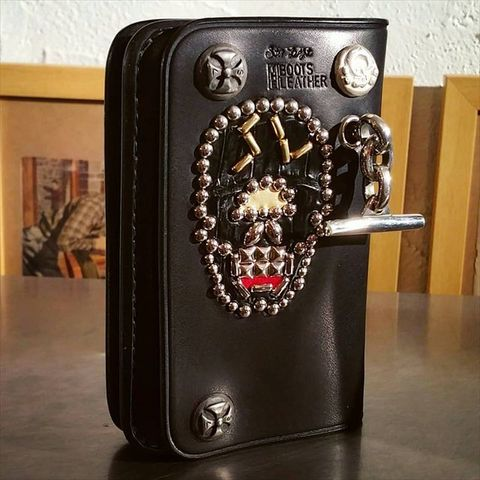 Boots Leather Middle Wallet T-bar & Skull Studs Special Custom