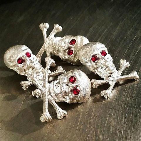 """JUNK SMITH Skull & Bones Pins Special Edition """"Silver 925"""""""