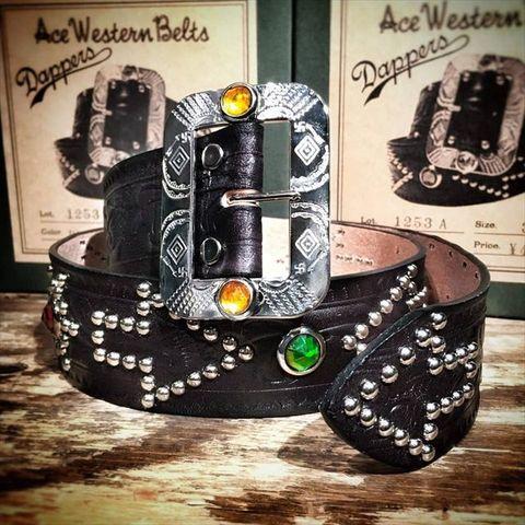 "Dapper's ""Indian Symbol Studs Belt"" Made by Ace Western Belts"