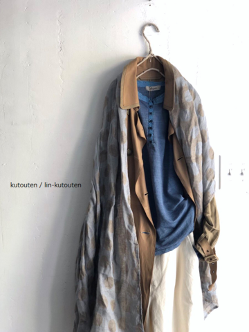 ラスト1点*【送料無料】Raw+ロウタス LINENSILK×LEATHER TRENCH COAT(WASHED)