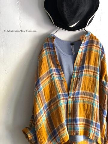 完売*ICHI Antiquites マドラスチェックのノーカラーリネンシャツ (ORANGE)