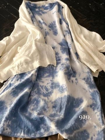 完売*LANAI by ichi Antiquites インディゴリネンのノースリーブドレス