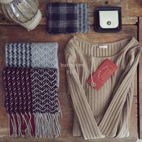クトウテンのミニマフ × trois temps 手織りカシミヤマフラー