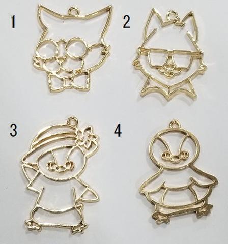 メガネネコ・ペンギンのフレーム 1個 ゴールド/ネコ/ペンギン
