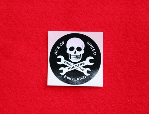 Skull and Spanners Sticker Black