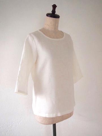 【大きいサイズ】【3L〜8L】リネン プルオーバー Tシャツ(ホワイト)