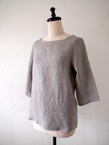 【大きいサイズ】【3L〜8L】リネン シャンブレー プルオーバー Tシャツ ブラウス(グレー)