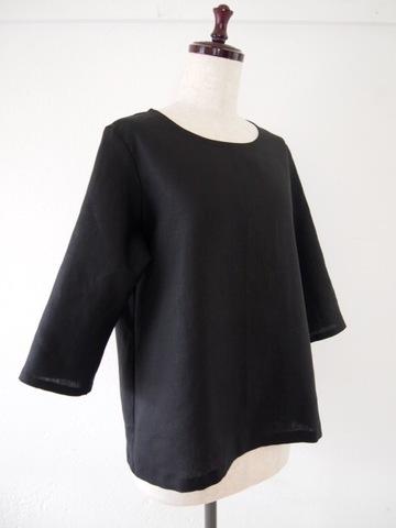 リネン プルオーバー Tシャツ(ブラック)