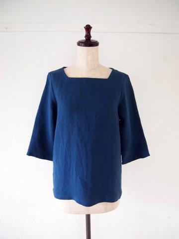 【大きいサイズ】【3L〜8L】ベルギーリネン プルオーバー Tシャツ ブラウス(ネイビー)
