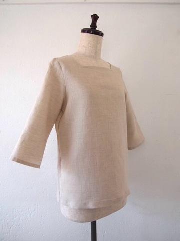 【大きいサイズ】【3L〜8L】リネン プルオーバー Tシャツ(ナチュラル)