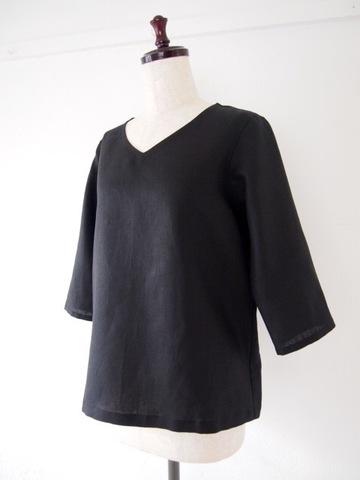 【大きいサイズ】【3L〜8L】リネン プルオーバー Tシャツ(ブラック)