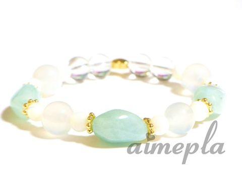 アクアマリン&ホワイトジェイド&マザーオブパール&レインボー水晶