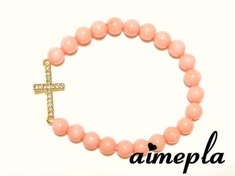 クロスブレス/ピンク染めサンゴ