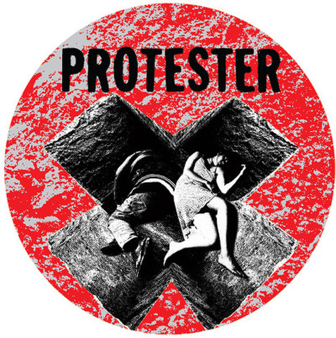 "Protester - demo 1"" pin button"