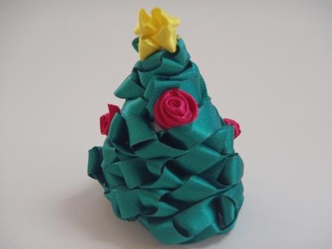 リボンで作るクリスマスツリー(送料無料)(リボンレイ作り方、手作りキット、手順、編み方、マニュアル、セット)
