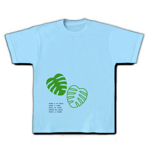 モンステラ Tシャツ(A)ライトブルー