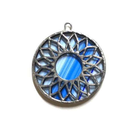 38 FLOWER Plate【Marbling Blue】