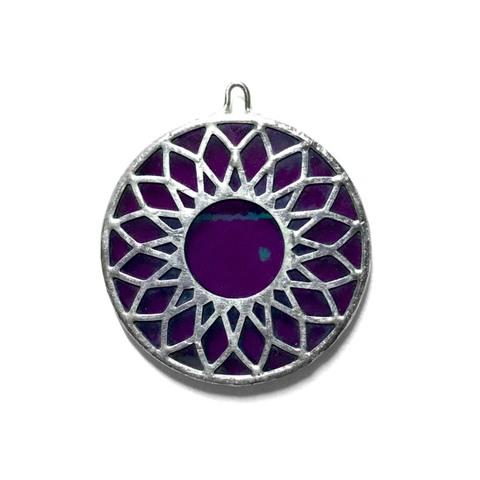 38 FLOWER Plate【Clear Purple Iridesento】