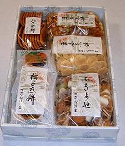 詰合せ(格子煎餅・ふきよせ・まめ煎餅・生姜煎餅・みそ煎餅)
