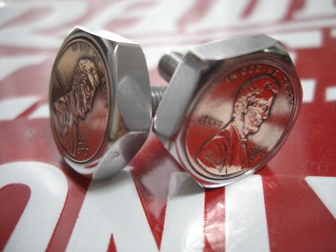 ステンレス製ナンバープレート用1¢コインボルト®「ナンバーボルト」