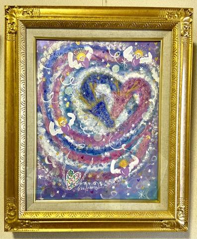 *愛と光と調和の銀河の龍と天使たち*(原画)(Sold Out)