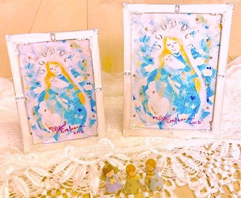 フレーム入り「薔薇の祝福*光の中の聖母子」ポストカードサイズサイン入り♪